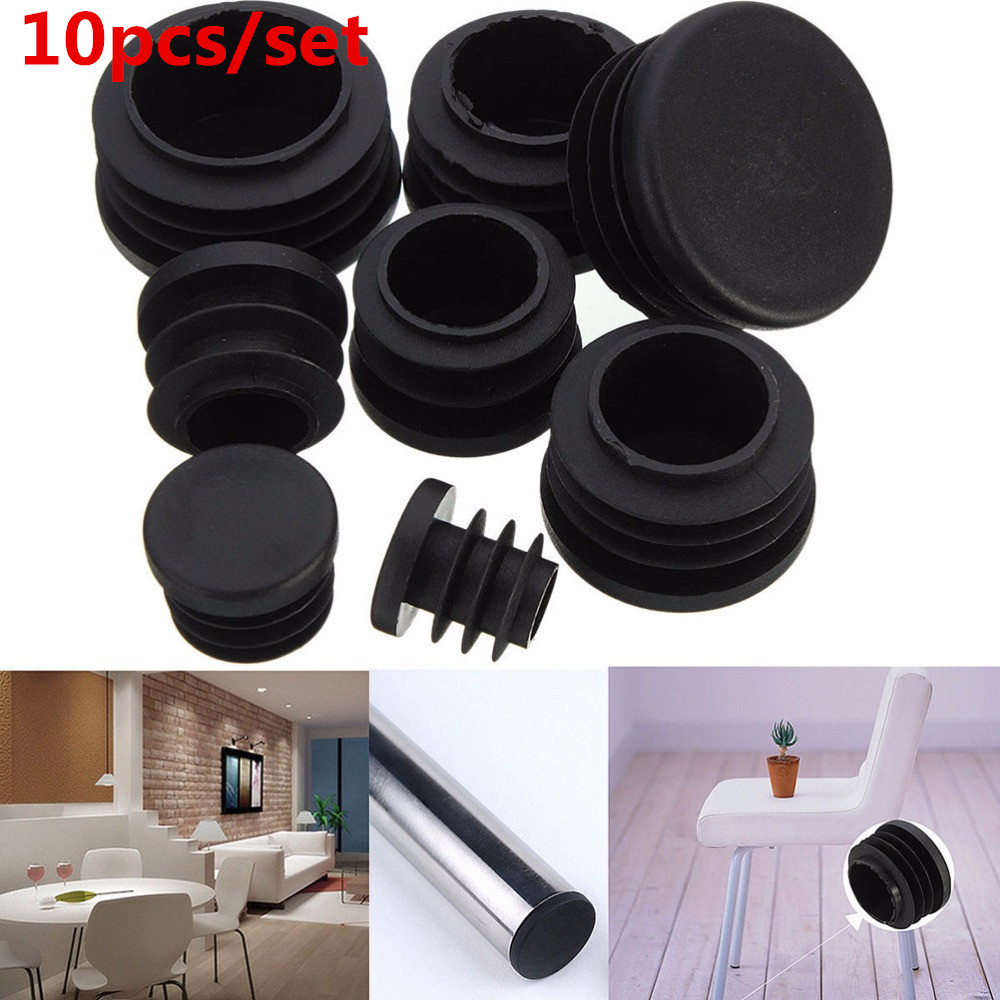 Hot-Selling 10Pcs Black PVC Plastic Furniture Leg Plug Blanking End Cap Bung For Round Pipe Tube