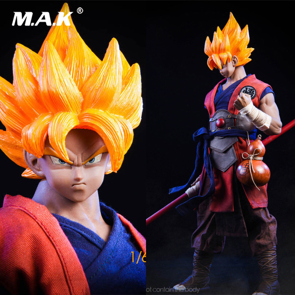 19XG41 1/6 Japanese Anime Dragon Ball  WU KONG Head Clothes Set  Straight/Strabismus Eyes Version for M33/M35 Action Figure