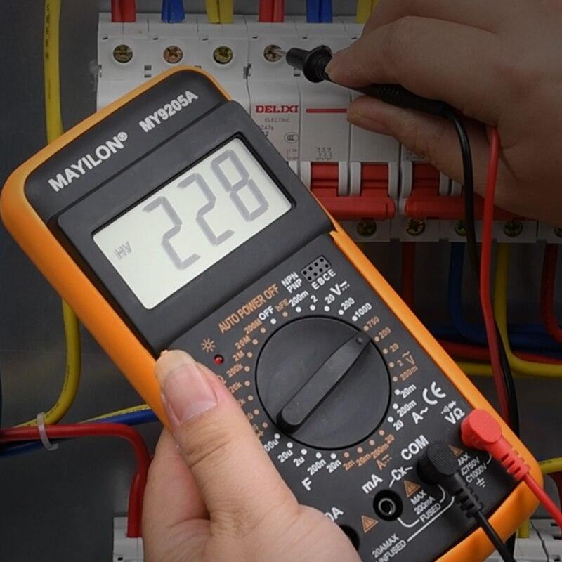 Профессиональный цифровой мультиметр MY9205A мультиметр тестер ручной диапазон измеритель напряжения истинное среднеквадратичное значение ...