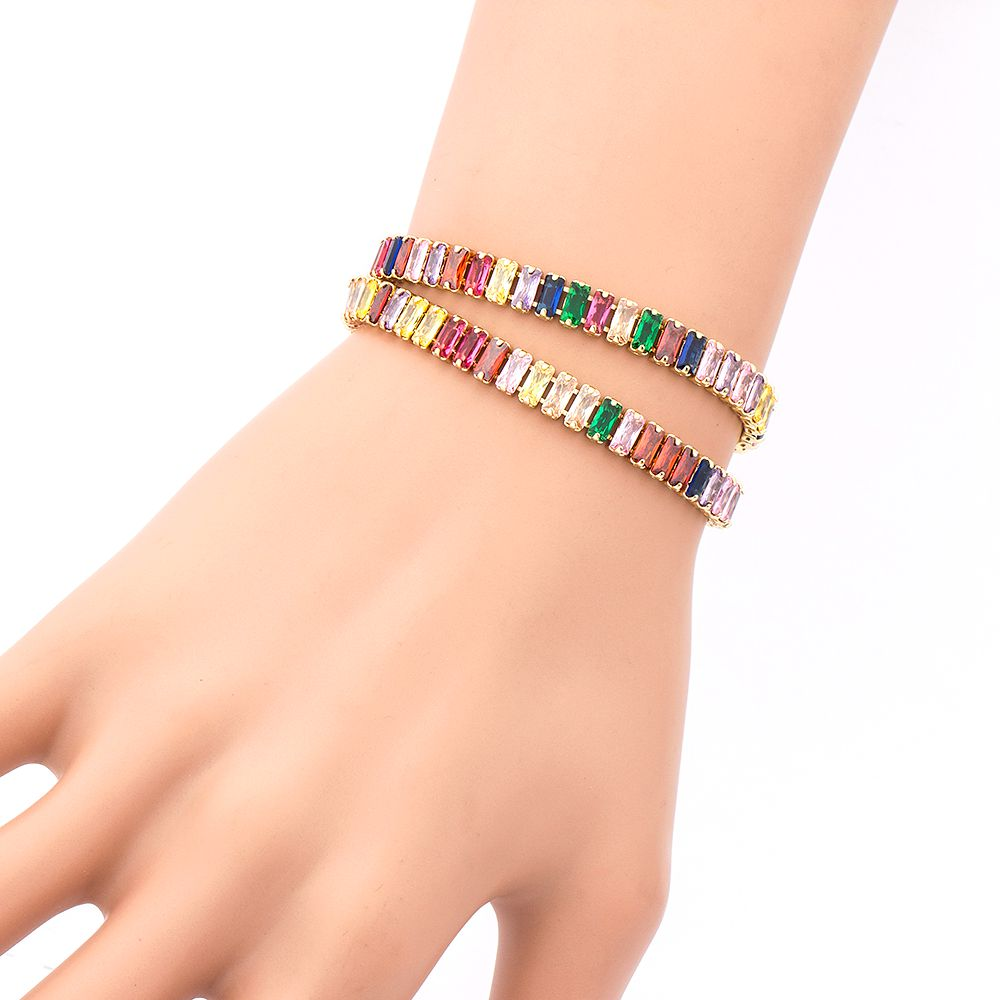Top Quality Luxury Copper Cubic Zirconia Double Layer Bracelet Adjustable Size Best Birthday Party  Jewelry For Women Girls Gift