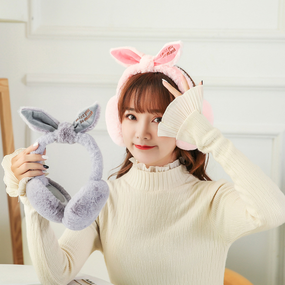 New 2019 Fashion Casual Simple Winter Plush Folding Earmuff Cute Rabbit Ears Shape Plush Warm Women's Earmuffs