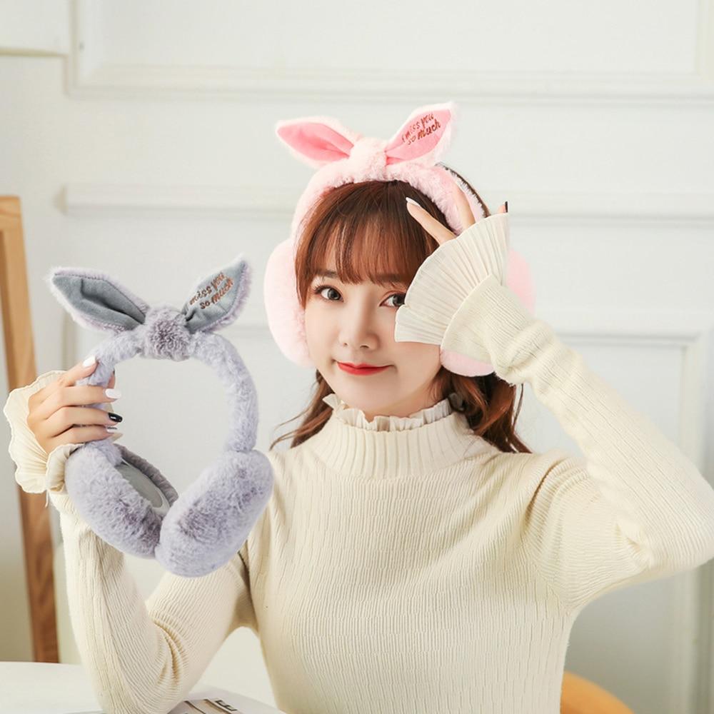 New 2019 Fashion Casual Simple Winter Plush Folding Earmuff Cute Rabbit Ears Shape Plush Warm Women's Earmuffs