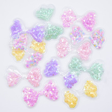 Wholesale 60Pcs 62*36mm Bow Tie Transparent PVC Glitter Sequin Appliques for DIY Craft Hat Patches Headwear Hair Clips Decor L01