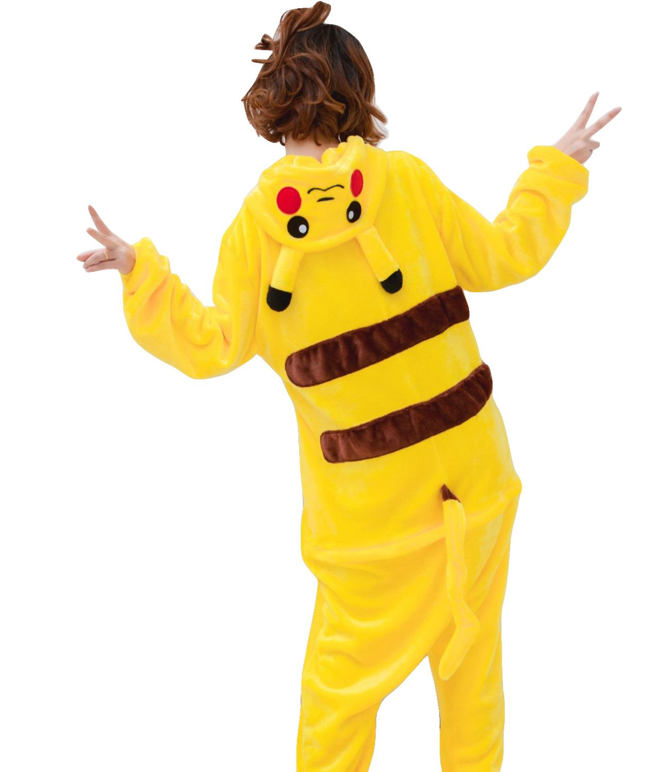 Halloween Homecoming Costume Unisex Adult Onesie Flannel Animal Anime Zipper Pikachu Pokemon Cosplay Costume