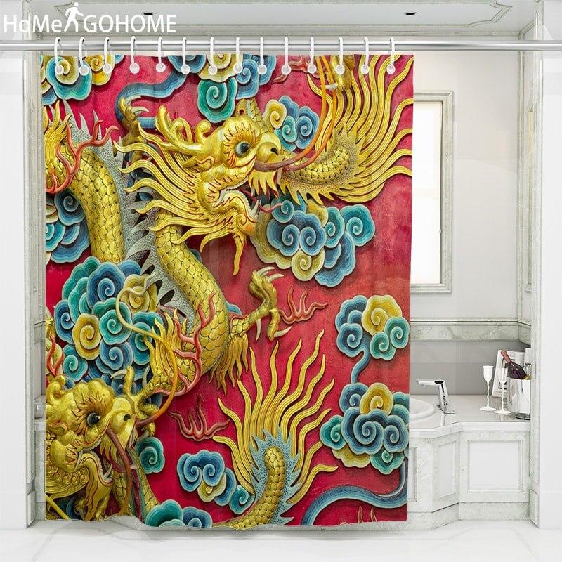 Dragon Printing Shower Curtain 3D Bathroom Waterproof Cloth Bath Bathtub Decorative Cortina Douchegordijn rideau