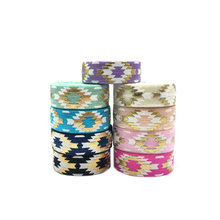 1Meters 16mm Gold Foil Aztec Print Fold Over Elastic FOE Baby Headband Diy Holiday Party Sewing Hair Band Strap Decorative