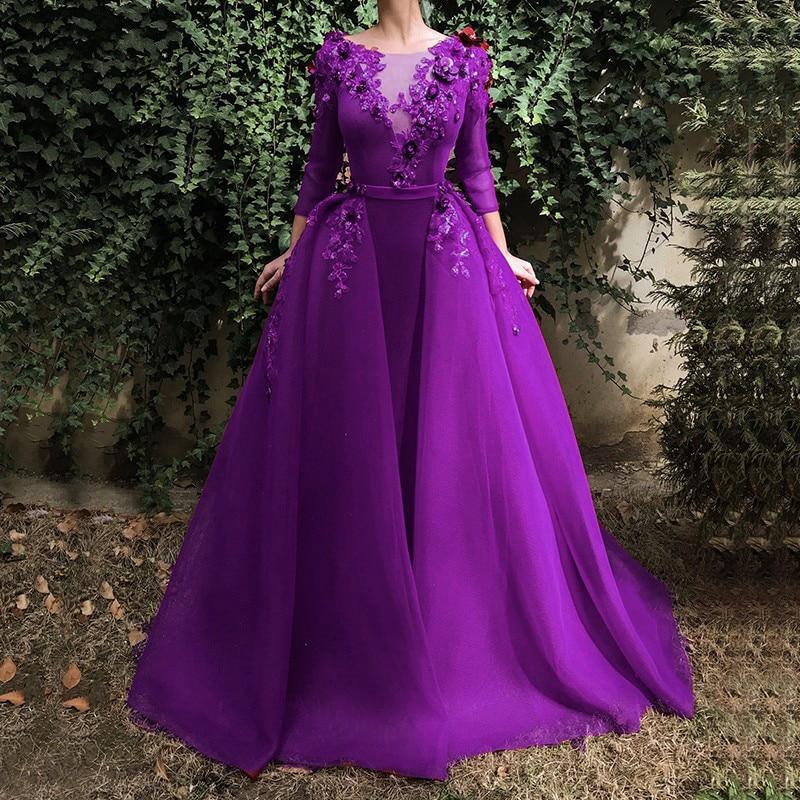 Long Evening Gown Long Sleeve Sequin Flowers Dubai Kaftan Saudi Arabic Elegant Formal Dress Muslim Evening Dresses 2019 in Evening Dresses from Weddings Events