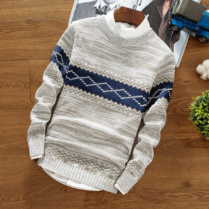 Spring And Autumn Men's Round Neck Pullover Warm Casual Knit Bottoming Shirt, Trend Personality Slim Striped Youth Wild Sweater