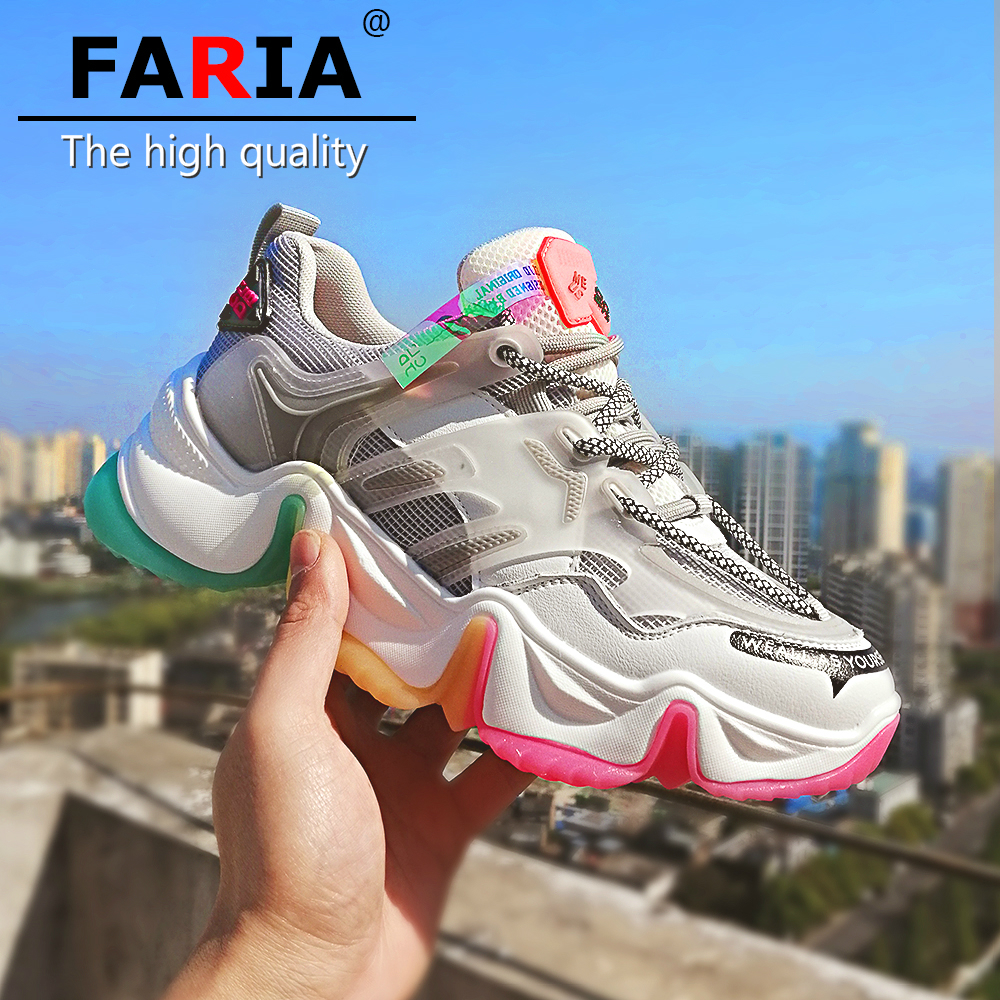 Quality Iridescence bottoms high 6cm air mesh Breathable fashion chunky sneakers womens...