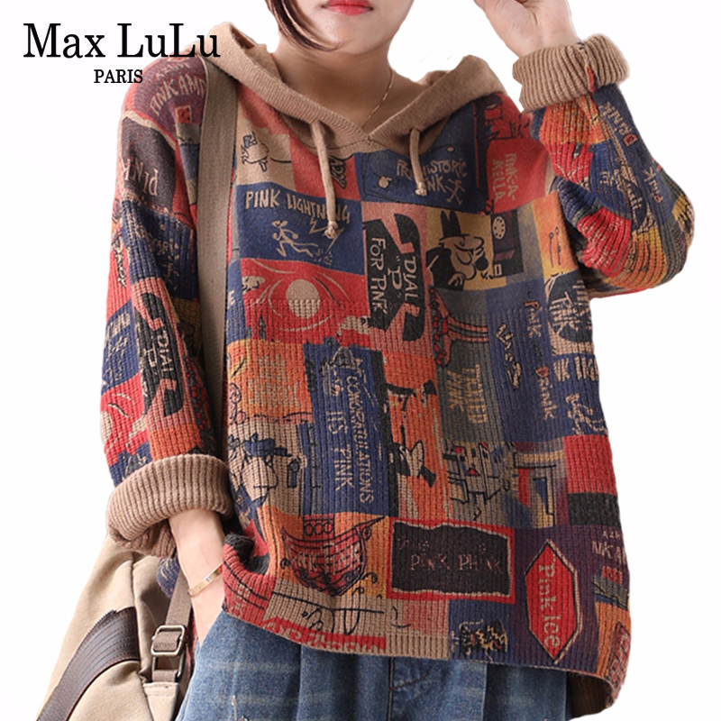 Max LuLu New 2019 Winter Korean Style Fashion Ladies Printed Jumpers Womens Hooded Sweaters Vintage Knitted Pullovers Plus Size