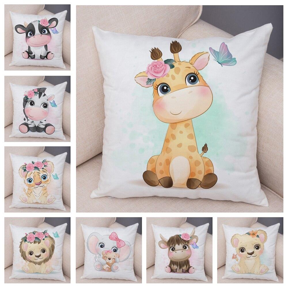 Cute Giraffe Lion Cow Pillow Case Decor Cartoon Animal Print Cushion Cover Soft Plush Pillowcase for Children Room Sofa Home