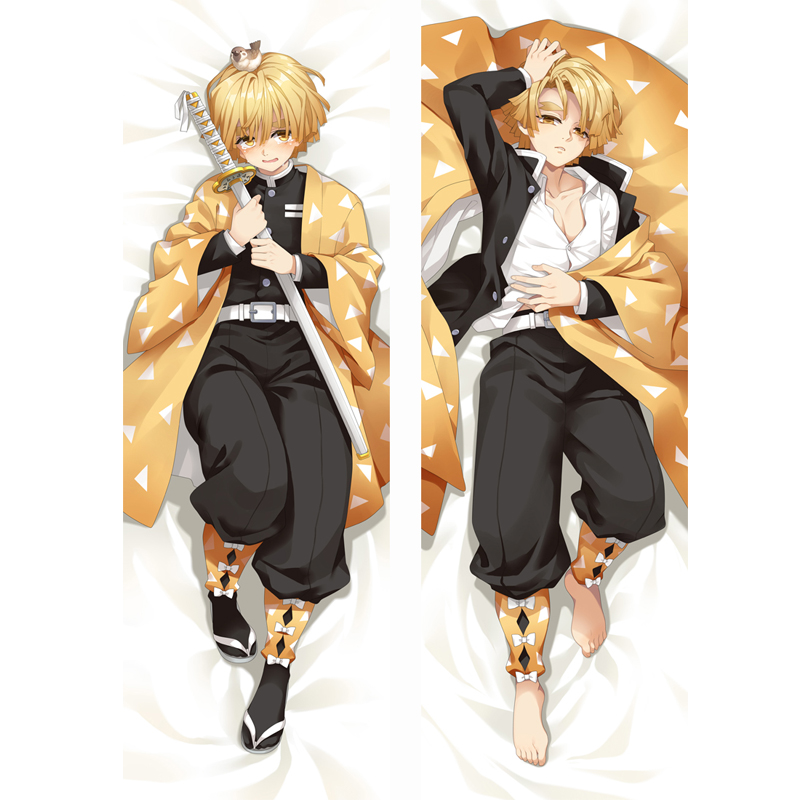 Demon Slayer: Kimetsu No Yaiba Anime Cosplay Body Pillow Case Agatsuma Zenitsu Dakimakura Cushion Cover Hug Body Male Otaku Gift
