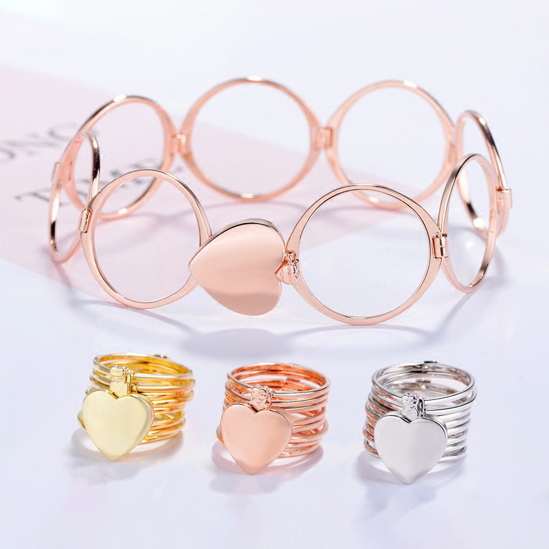 Crystal Clover Retractable <font><b>Ring</b></font> <font><b>Bracelet</b></font> Change Dual-use Heart Folding <font><b>Ring</b></font> <font><b>Bracelets</b></font> For Women 2020 BFF Jewelry pulseras Femme image