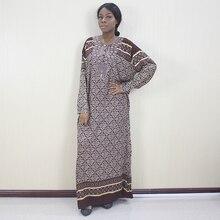 Afrikaanse Dashiki O hals Applicaties Button Bruin Bloemen Gedrukt Lange Mouwen Lange Jurk Voor Vrouwen