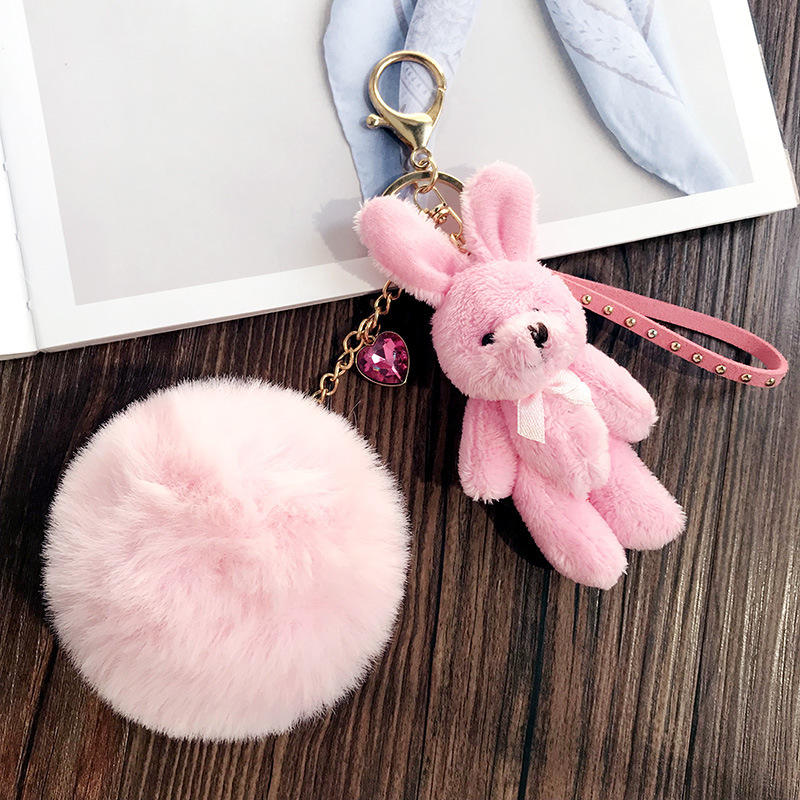 Cute Pink Rabbit Fluffy Plush Keychain For Women Girl Animal Pom Pom Faux Fur Key Chain Bag Pendant Charms Jewelry GIft Trinket