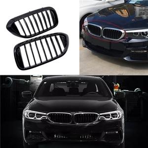 Image 2 - 1 çift araç ön ızgarası BMW için yeni 5 serisi G30 G38 2018 2019 Grille parlak siyah ön tampon çıta ızgara araba ön ızgara