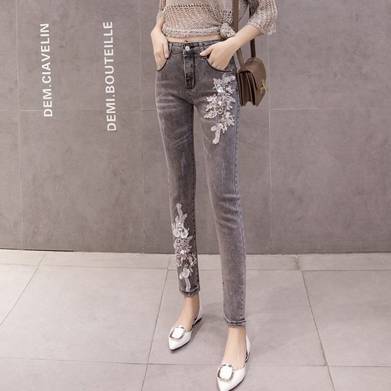 Floral Embrodered Flares European New Womens Denim Pants High Waist Slim Fit Big Size Ankle Length Female Pencil Jeans Trousers