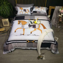 New Orange Bedding Set Ropa De Cama Parrure Lit European Luxury Bed Cotton Fashion Simple Horse Style Duvet Cover Sheet