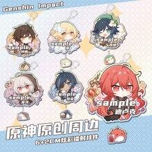 New Anime Genshin Impact Kaeya Diluc Venti Lumine Razor Zhongli Keychain Acrylic Keyring Badge Cosplay Bag Pendant Toy Xmas Gift
