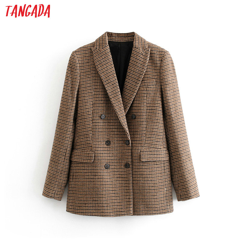 Tangada Women Stick Winter Double Breasted Suit Jacket Office Ladies Vintage Plaid Blazer Pockets Work Wear Tops 3H155