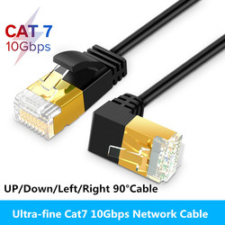 Ultra Slim Cat7 Ethernet Cable RJ45 Right Angle UTP Network Cable Patch Cord 90 Degree Cat6a Lan Cables for Laptop Router TV BOX