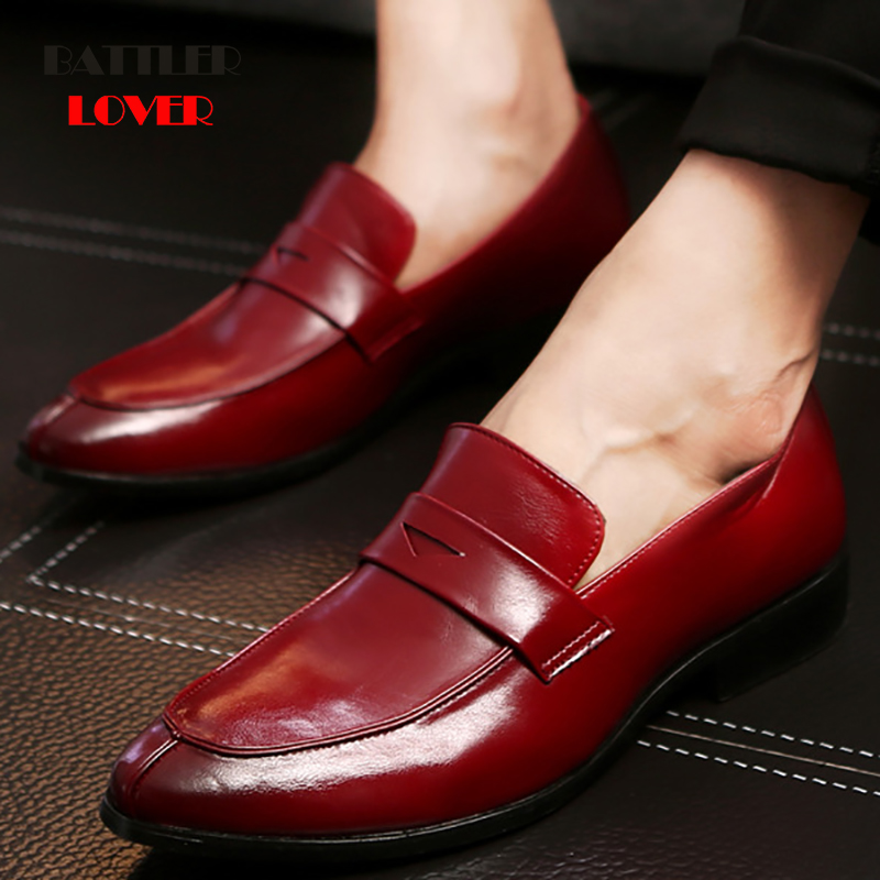 2019 Newest Mens Flat Loafers Italian Dress Shoes Casual Loafer for Men Slip-on Wedding Party Shoes Male Designer Leather Shoes