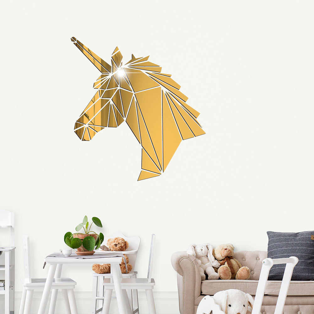 3d Acrylic Mirror Wall Sticker Mural Unicorn Decal Living Room Decoration Home Decor Wall Stickers For Kids Rooms Bedroom Decor Aliexpress