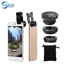 Cell-Phone-Camera-Lens-Kit Fisheye-Lens Macro Smart-Phones Wide-Angle Anjielosmart Universal