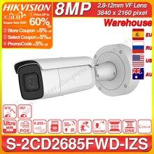 Hikvision الأصلي DS 2CD2685FWD IZS كاميرا مصغرة 8MP POE كاميرا تلفزيونات الدوائر المغلقة 50m IR المدى IP67 IK10 H.265 + 2.8 12 مللي متر التكبير