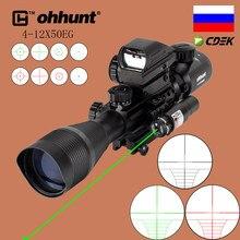 Ohhunt-mira telescópica táctica con láser de punto rojo y verde, mira óptica holográfica de combate para tiro, 4-12X50 EG