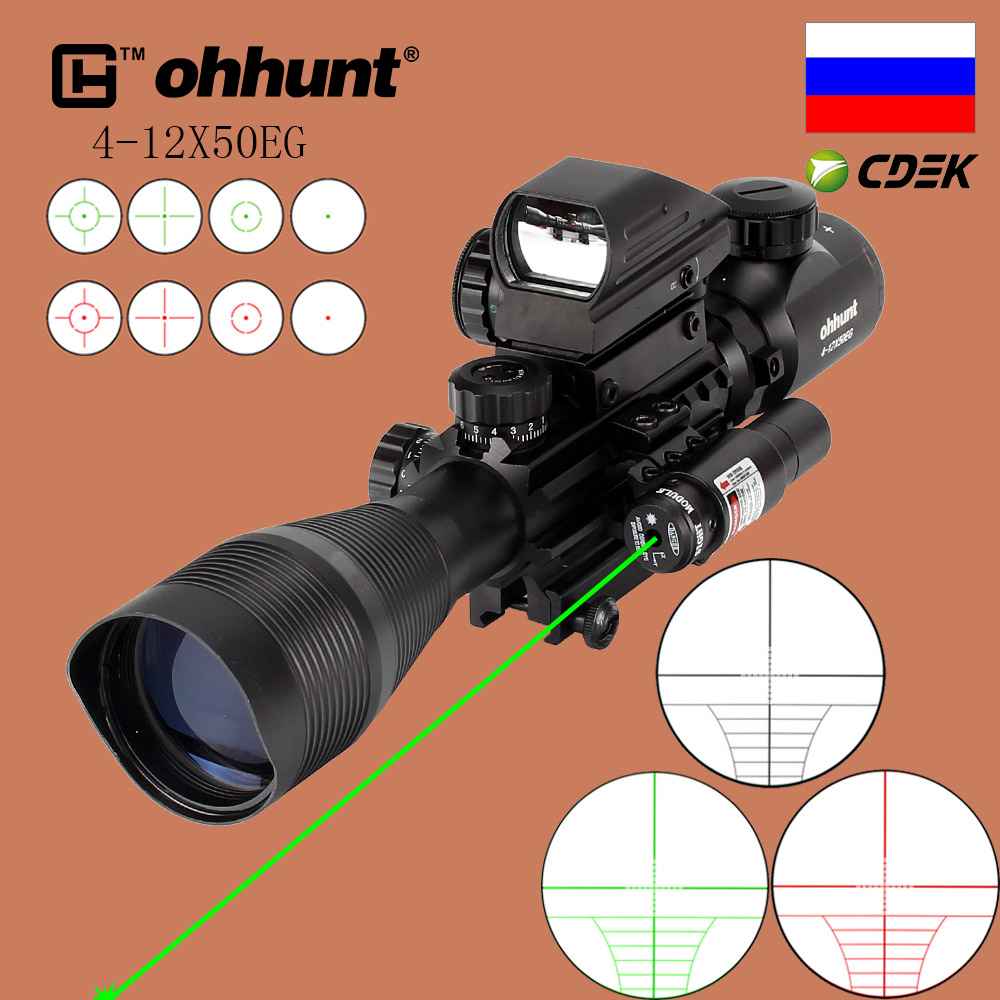 ohhunt Hunting Airsofts Riflescope 4-12X50 EG Tactical Air Gun Red Green Dot Laser Sight Scope Holographic Optics Rifle Scope