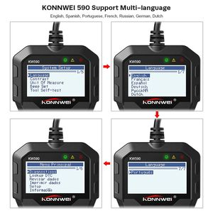 Image 4 - OBD2 Automotive Scanner KW590 OBDII Code Reader Auto Diagnose Werkzeug Schalten Motor Licht Freies Update Auto Code Reader PK ELM327