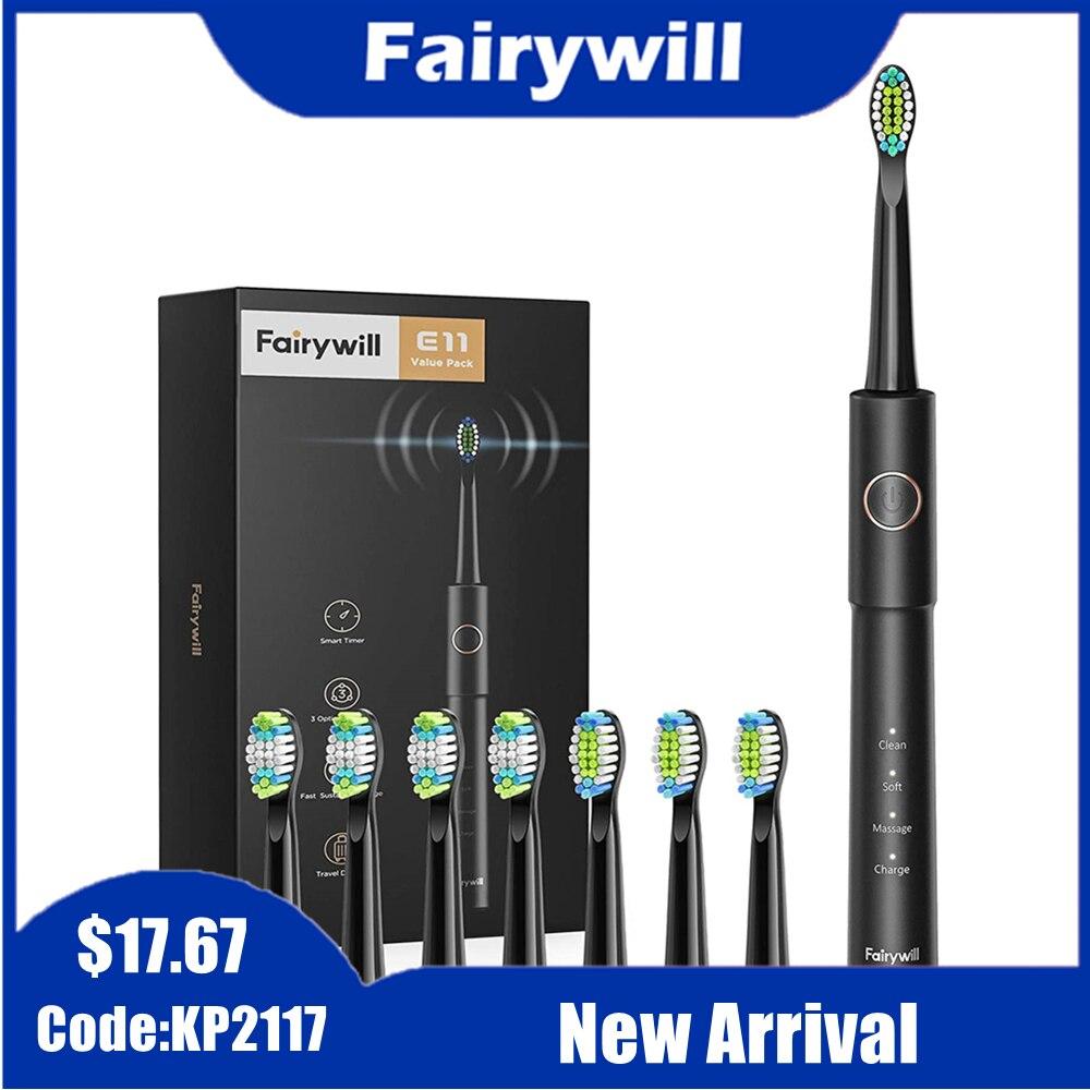 Fairywill Sonic elektrikli diş fırçası E11 USB şarj şarj edilebilir su geçirmez elektrikli diş fırçası 8 fırça değiştirme kafaları yetişkin