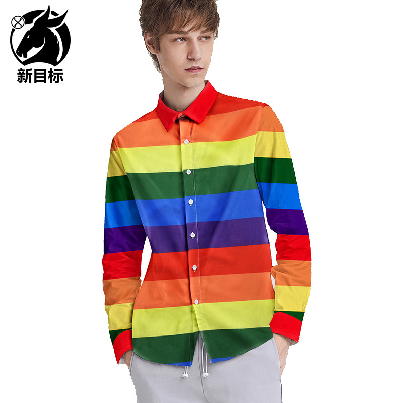 Amazon Hot Selling 2019 Autumn And Winter New Style Rainbow Stripes Printed Long-sleeved Shirt Loose And Plus-sized Tops Couple