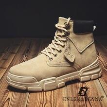 Мужские кожаные ботинки со шнуровкой Черные Водонепроницаемые
