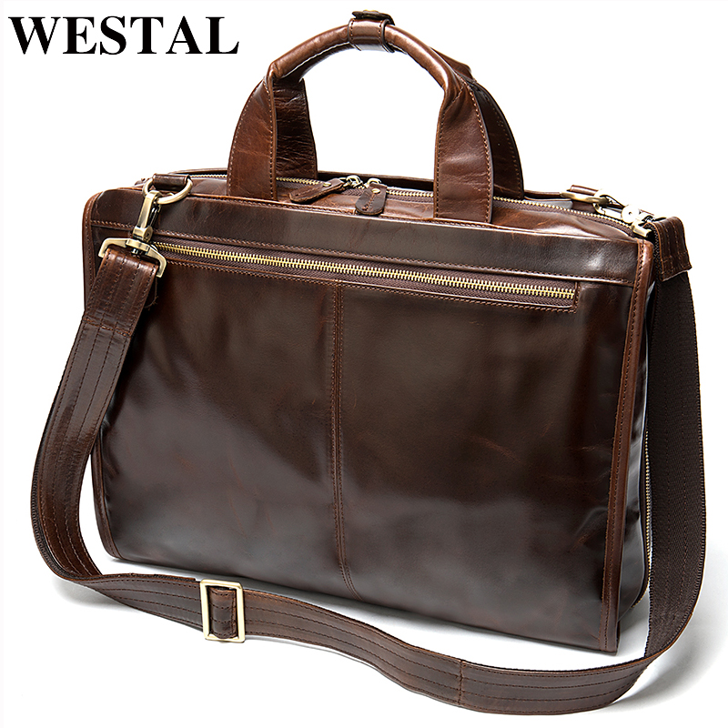 WESTAL Men's Bag Men's Leather Laptop/briefcase Bag For Men Messenger/office Bag Men Design Business Document Briefcase Handbag