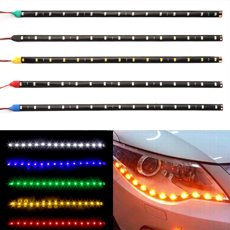 1PC 15 LED Car Strip Light Motorcycle Flexible Bar 30CM 3528 SMD Under Tube Underglow Underbody Boat Atmosphere Decorative Lamp