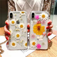 Fashion Real Dried Flower Case for iPhone 11 Case 11 Pro Max X XR XS MAX 6S 7 8 Plus Beautiful Floral Transparent TPU Cover Capa