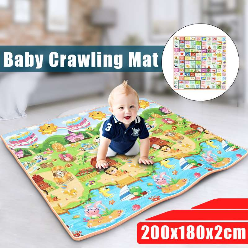 Baby Crawl Play Mat 2cm Thick Crawling Mat Double Surface Baby Carpet Rug Animal And Letter Developing Mat For Children Game Pad
