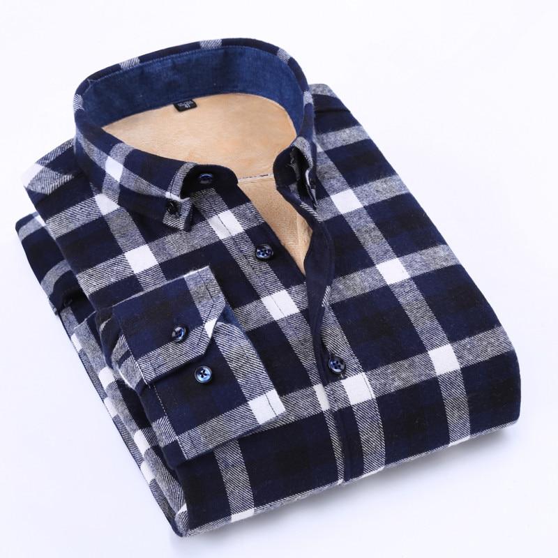Men's Cotton Slim Warm Plus Velvet Thick Shirt Business Casual Plaid Pattern Winter Fashion Brand High Quality Plus Size 8XL 7XL