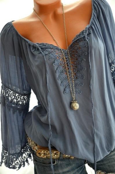 Blusa holgada informal con manga larga para verano, camisa de encaje con cuello en V para mujer, 2021 2