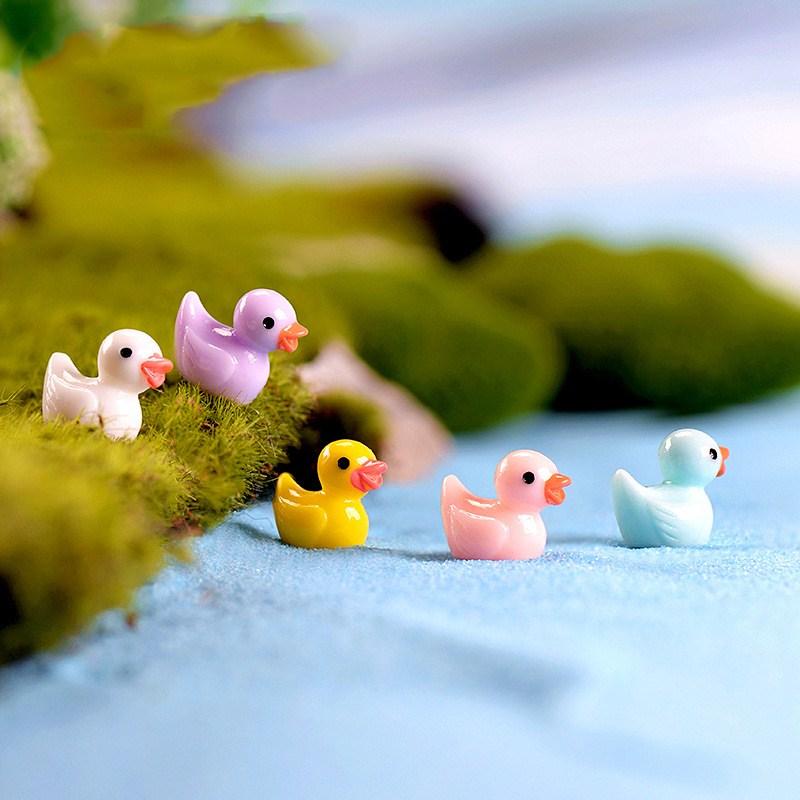 5 Pcs Mini Colorful Duck Duckling Pato Small Pasture Statue Figurine Micro Crafts Ornament Miniatures DIY Garden Decor