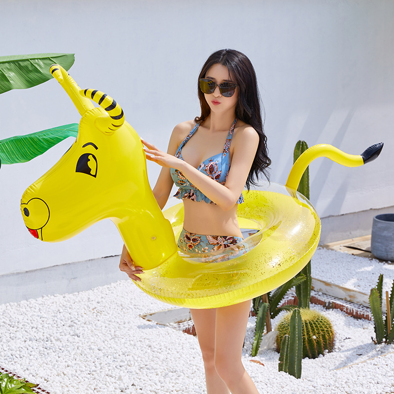 2020 New Glitter Inflatable Pool Floats Rafts For Swimming Animal Ride-On Cattle Pool Mattress Beach Summer Water Toys Life Buoy