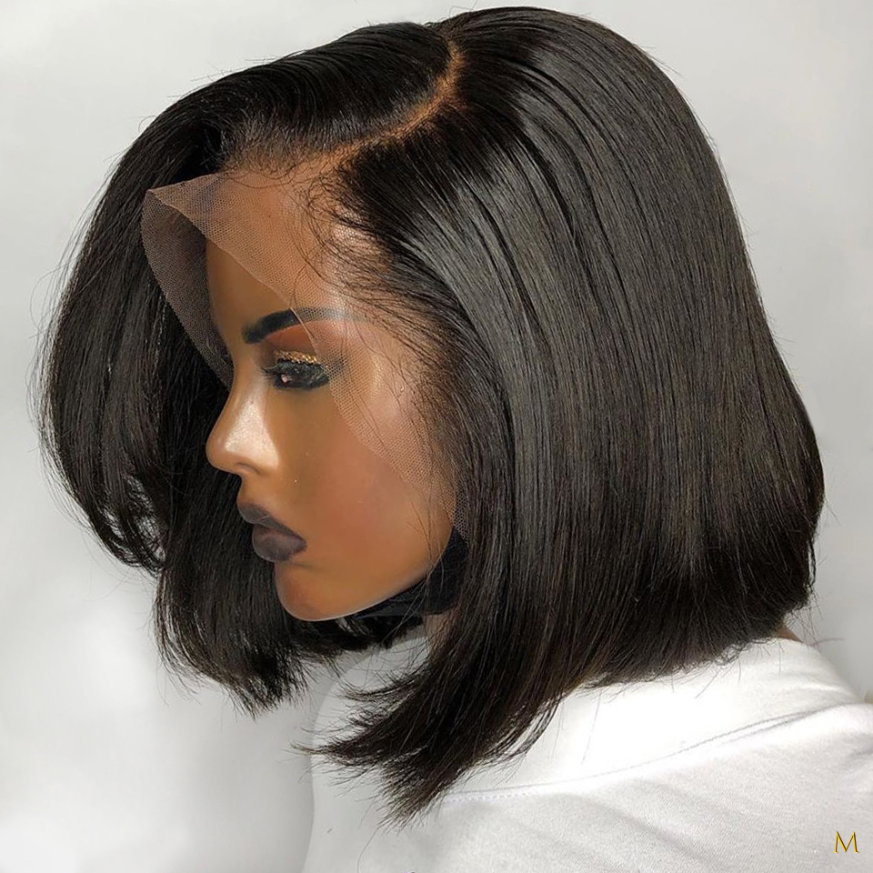 Bob Wig 13x4 Lace Front Human Hair Wigs Pre-Plucked Short Straight Frontal Wigs For Black Women With Baby Hair Natural Remy Hair