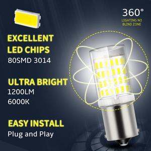 Image 2 - 1pcs 1156 BA15S P21W 1157 BAY15D LED נורות 80SMD 3014 שבבי סופר בהיר 1200LM 3D תאורת רכב הפעל אות אורות הפוך 12V