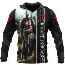 Модные мужские толстовки knights templar с 3d принтом толстовка