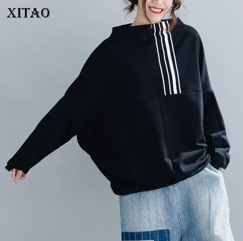 XITAO Autumn New Stripe Printing Sweatshirt Women Fashion Loose Plus Size Bat Sleeve Top Wild Plus Size Women Clothes ZLL3289 1