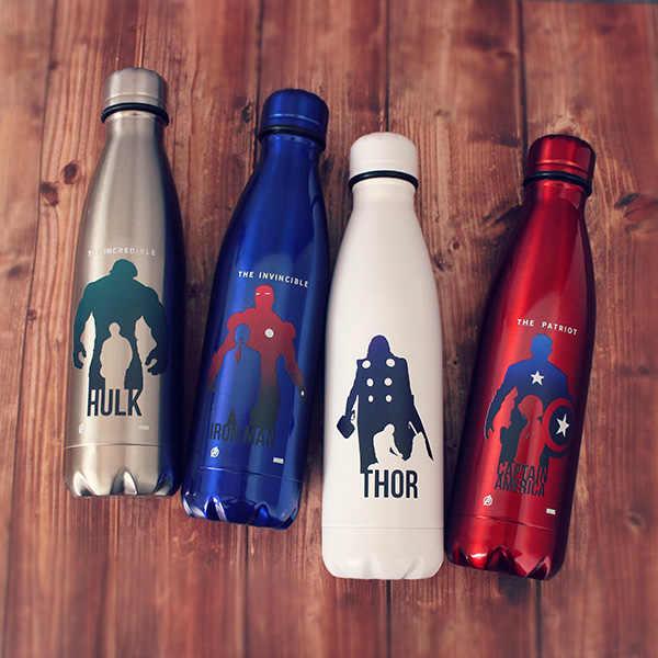 สแตนเลสสตีล Super HERO น้ำขวด Avenger Justice League กาแฟแบบพกพา Hydro Flask อินเทรนด์ถ้วยฟาง