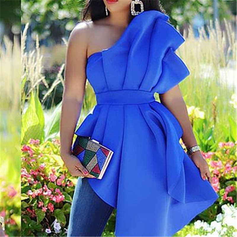 Femmes fête Blouse hauts chemise Sexy dos nu Peplum bleu à volants irrégulière mince tenue de club automne mode rencontres nuit dames Bluas