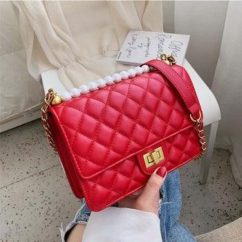 цена Diamond lattice PU Leather Crossbody Bags For Women 2020 Mini Shoulder Messenger Bag Fashion Designer Chain Handbags and Purses онлайн в 2017 году